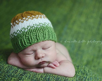 Knit Baby Hat, Striped Baby Hat, Baby Beanie Hat, Striped Beanie, 3-6 Months, Fall Colors - Ready to Ship