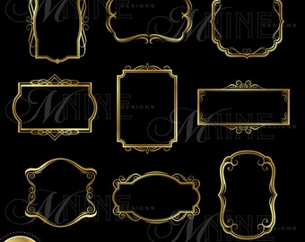Frame Clip Art: GOLD VINTAGE FRAMES Clipart Design Elements, Frames Download, Vintage Frame Accents Borders