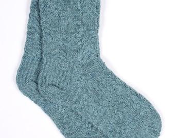 Hand knitted mens 100% wool socks