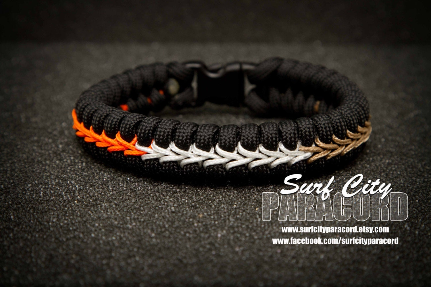 ducks paracord fishtail bracelet with center by