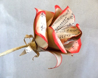 Extra large music rose,  vintage sheet music paper rose, upcycled paper decoration, paper flower, sheet music bouquet