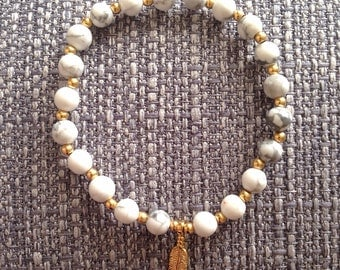 White Howlite and Gold Vermeil Beaded Feather Bracelet