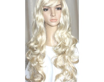 Blonde long curly wig. -high quality wig  - made-to-order