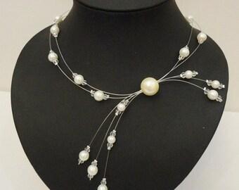 Collier mariée mariage soirée perles blanches blanc bridal necklace white