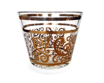 Gold and Glass MCM Ice Bucket, Gold Scroll, Mid Century