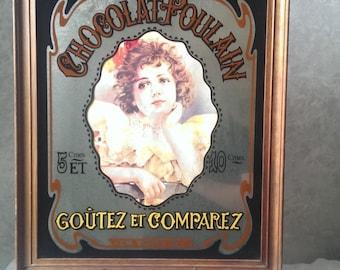 Framed Large Vintage Mirror Advertising Sign