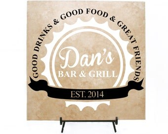 Custom Bar & Grill Sign -Father's Day Gift - Personalized Bar Sign, Man Cave Sign, Groomsman Gift, Dad Birthday Gift, Men's Birthday