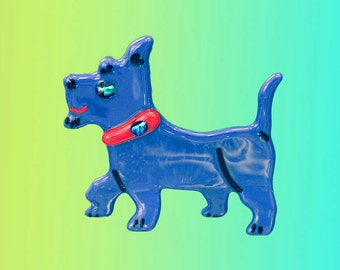 """Dog, standing fused glass  3 1/2"""" x 3 1/4"""""""