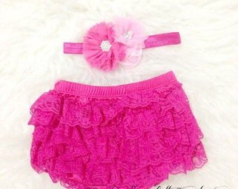 Hot Pink Baby Girl Lace Ruffle Bloomer,Diaper Cover and Headband Set