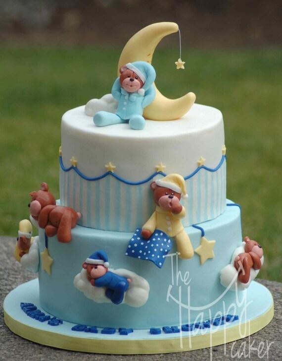 Fondant cake topper Sleepy teddy bear cake kit Cake not