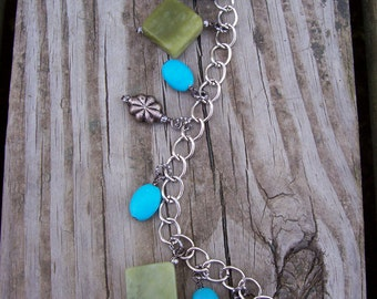 CLEARANCE/Gemstone Charm Bracelet/Green Serpentine/ChalkTurquoise/Arizona Daydreams/ up to 8-1/2 inches/Was 15.00