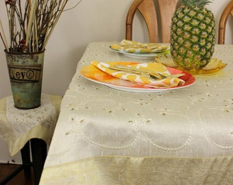 "Hand Embroidered (Beige) 43"" X 86"" Rectangular Tablecloth"