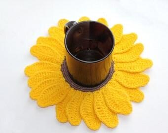 Crochet eco friendly trivet hot pad - Sunflower - yellow-green- cotton
