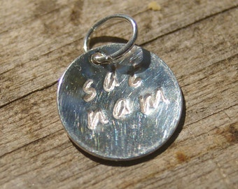 Sat Nam Add on Silver Disc Charm - Add On, Dangle, Charm, Yoga, Meditation, Kundalini