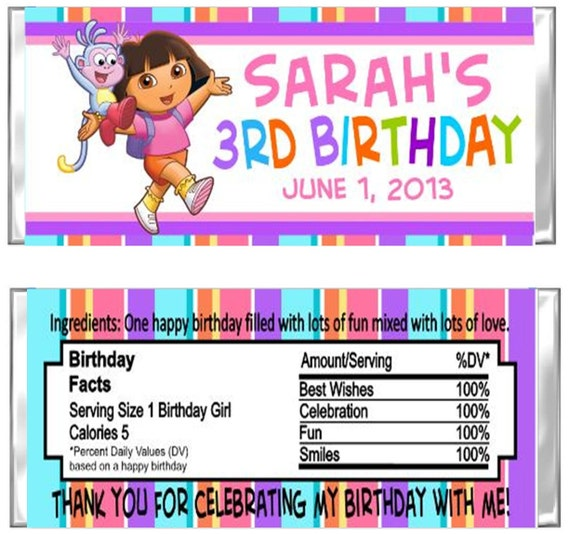 Dora the Explorer & Boots Birthday Party Candy Wrappers Favors Custom Personalized