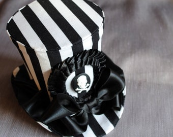 Gothic Pirate Mini Top Hat,Halloween Costume Mini Top Hat, Striped Black and White Mini Top Hat-Custom-Made to Order