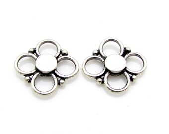 2 Pcs, 10mm, Sterling Silver Connectors