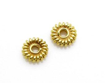10 Pcs, 5.2mm, 24k Gold Vermeil Spacers