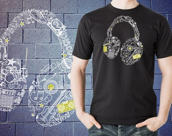 Headphones Doodles Music Instruments T-Shirt Shirt Tshirt Tee