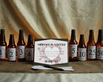 DIY Grunge Heart Message in a Bottle Guestbook