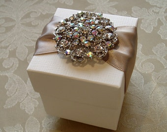 Glittering Diamante Cluster Decorated Wedding Favour. Bespoke. Various Colour Options