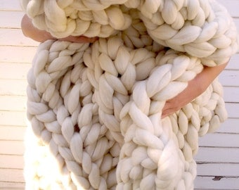 "Huge Super Chunky Knit Merino Wool Blanket  60"" x 60"" Giant Knit, Extreme Knitting, Extra Chunky Wool Blanket, Bulky Knit Blanket, Arm Knit"