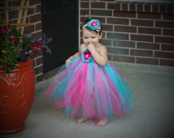 Cotton Candy Tutu Dress Pink and Aqua and headband