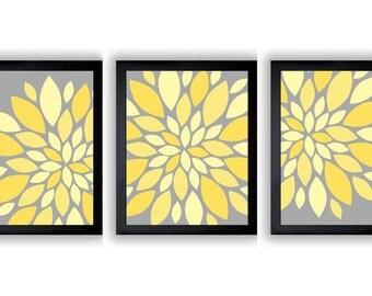 INSTANT DOWNLOAD Grey Yellow Dahlia Flower Set of 3 Art Printable Abstract Art Flower Print Wall Decor Modern Minimalist Bathroom Bedroom