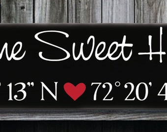 Home Sweet Home,Personalized Wedding GPS Sign,GPS Coordinates,Latitude Longitude,Anniversary Engagement Housewarming Gift,Custom Wood Sign