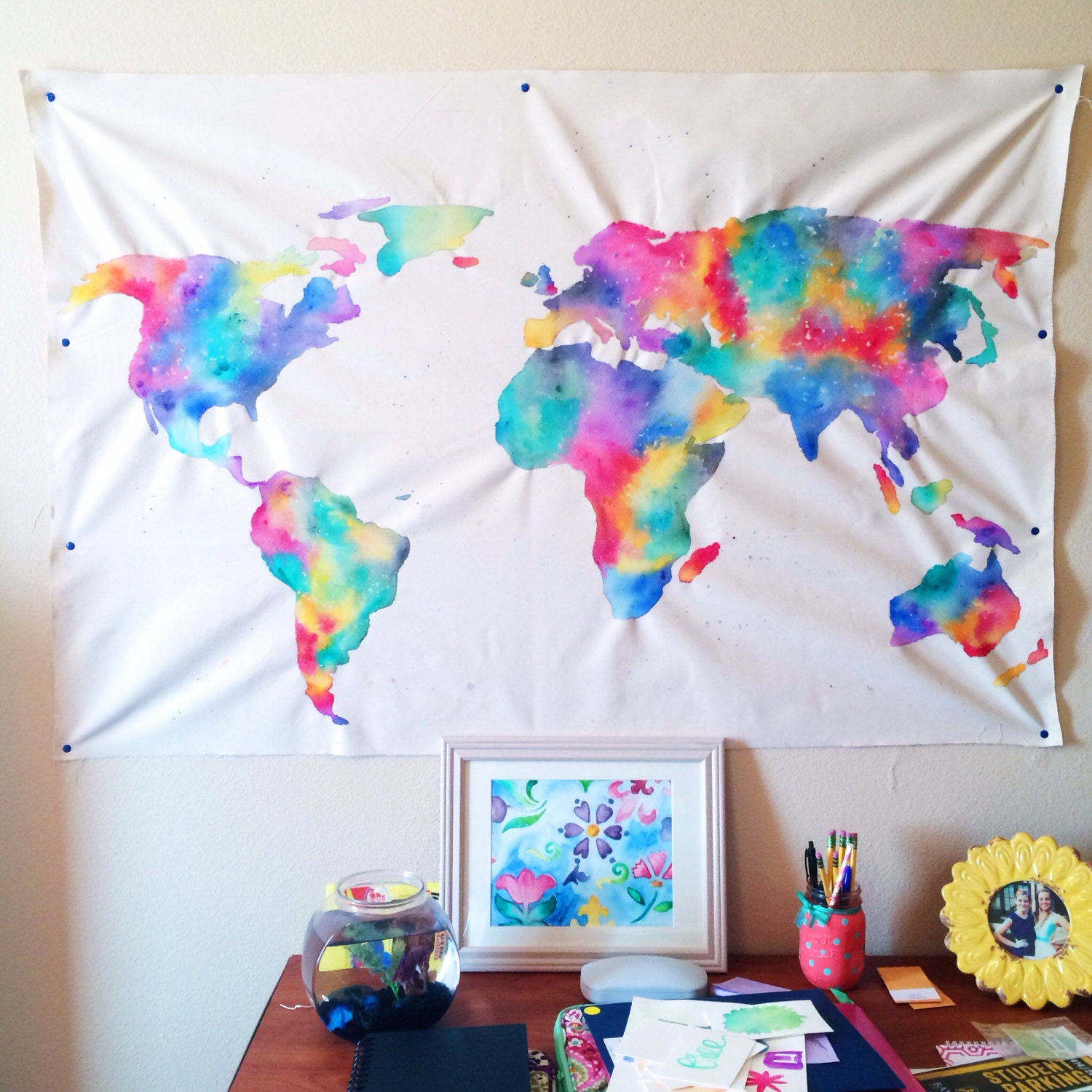 Watercolor World Map Tapestry by HuesOfGrace on Etsy