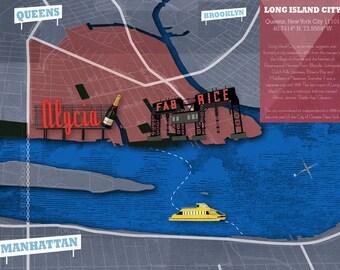 Long Island City, Queens Map - 17 in.  x 11 in.