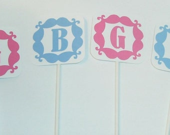 Gender Reveal Cupcake toppers Boy or Girl (219C)