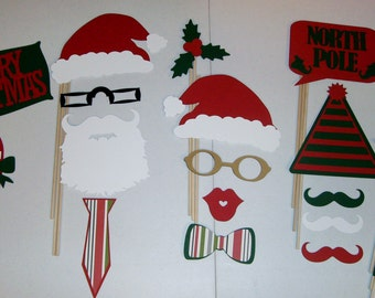 DIY Christmas Photo Booth Prop Santa Claus,Holiday, 19 pieces (2030D)
