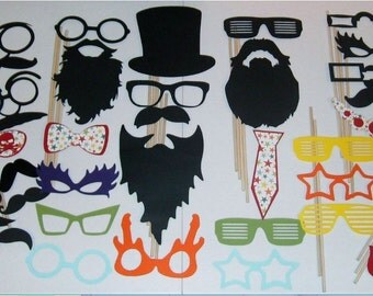 DIY-50 Photo Booth Props Mustache on a stick Weddings Birthdays (2018DC)