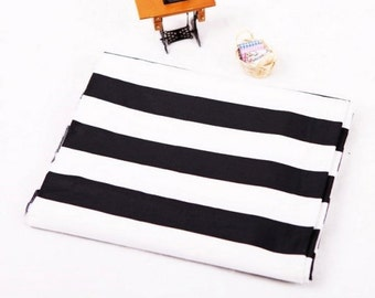"Twill Cotton Fabric 1.18"" (3 cm) Black & White Stripe By The Yard"