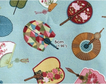 Cotton Fabric Fan Blue By The Yard