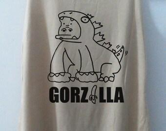Funny GORZILLA t shirt Vintage Tank top Pop Punk Rock Tank Top Vest Women Movie T shirt lady T-Shirt Size S,M,L-