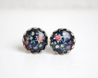Deep navy blue and red vintage rose floral glass dome stud earring, cabochon earring,rose studs,ditsy floral,birthday gift, graduation gift