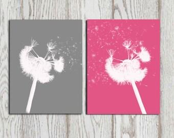 Dandelion print Gray and Hot Pink wall art Bedroom art Printable Dandelion poster print Girls room art Set of 2 Digital flower art DOWNLOAD