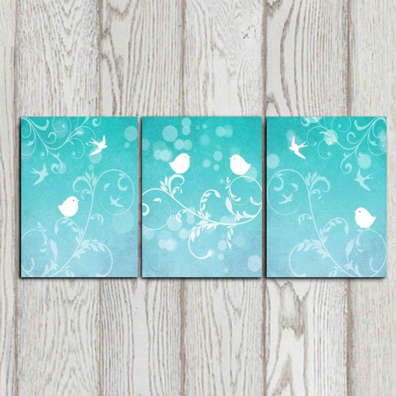 Set Of 3 Bird Art Prints Turquoise Wall Decor Bedroom Decor Aqua Wall Art