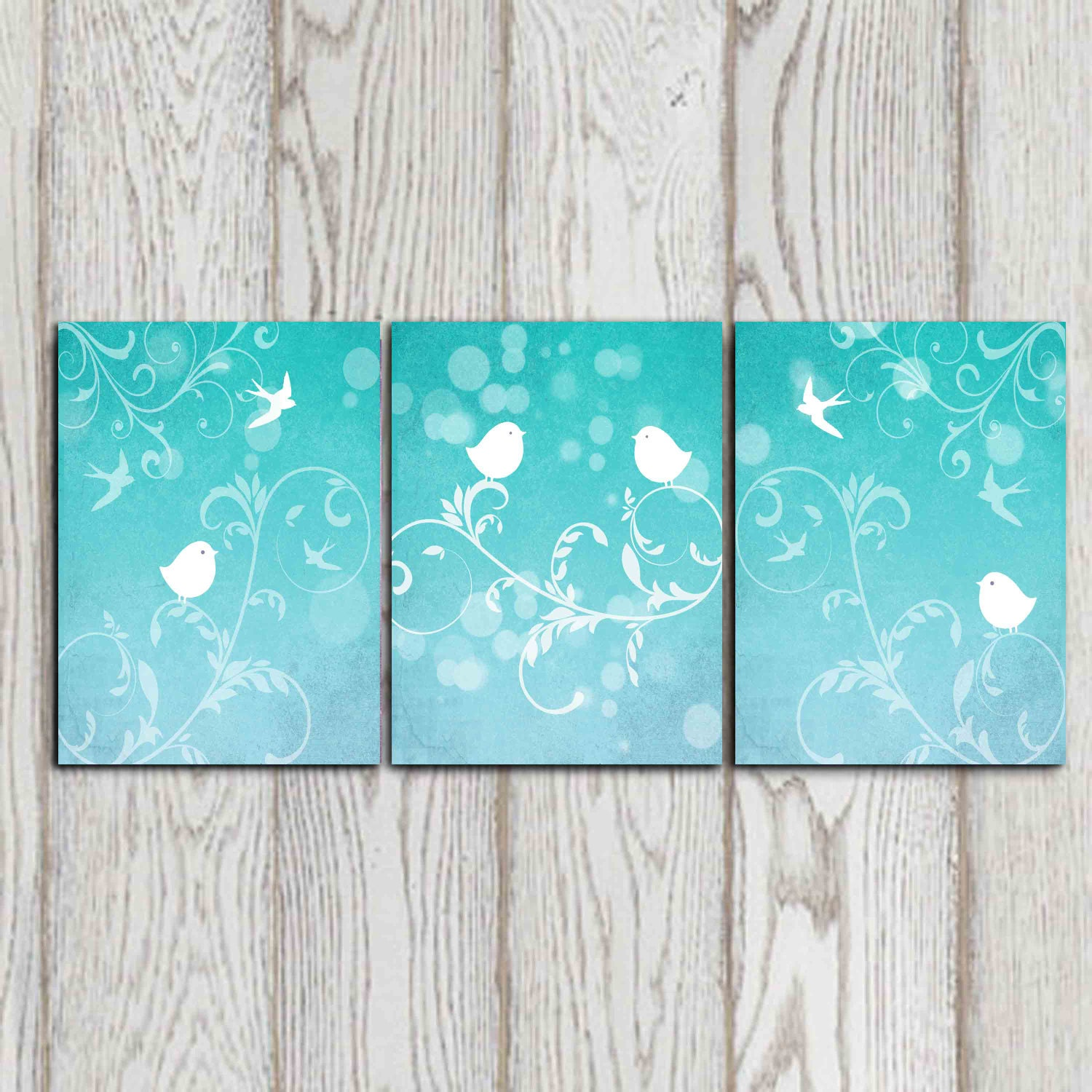 Set of 3 bird art prints turquoise wall decor bedroom decor Best wall decor
