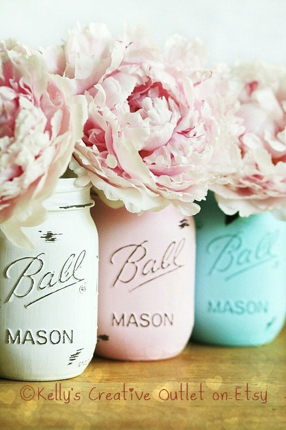 Wedding Decor - Wedding Shower Decor - Baby Shower Decor - Centerpiece - Baby Room - Painted Mason Jars - Mason Jar Decor - Mason Jar
