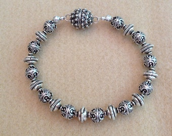 Sterling Silver Bali bead bracelet with magnetic clasp