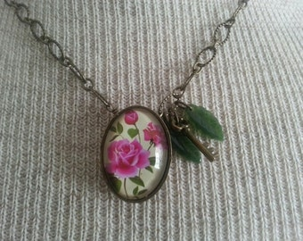 Necklace - Rose and Leaf Antique Gold Chain