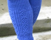 Handknit blue unisex long wool gaiters