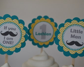 Mustache Cupcake Toppers - Yellow and Teal - Mustache Bash - Little Man - Set of 12