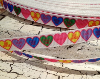 "3 yards 3/8""  Candy Hearts with Saying VALENTINE HEART on White Grosgrain Ribbon"