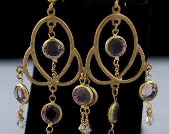 VINTAGE Brass Filigree Atomic Chandelier earrings with Swarovski Channel Crystals