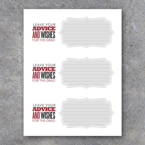 graduation advice cards with matching display tent card