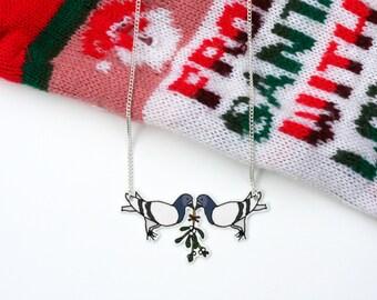 Christmas Mistletoe Pigeon Illustration Shrink Plastic Necklace